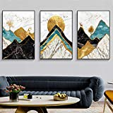 Rudxa Abstract Marble Mountain Landscape Poster Canvas Painting Wall Art Print para Living Room Decor-50x70cmx3 sin Marco
