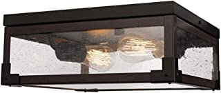 Globe Electric 65917 Williamsburg 2-Light Flush Mount Ceiling Light, Dark Bronze, Dark Wood Finish Accents, 5 Seeded Glass Panes