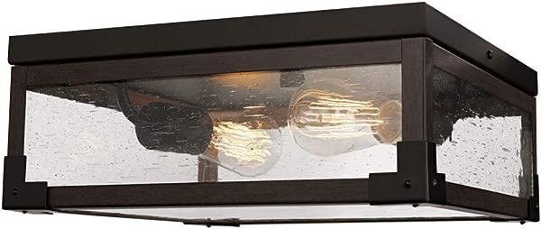 Globe Electric 65917 Williamsburg 2 Light Flush Mount Ceiling Light Dark Bronze Dark Wood Finish Accents 5 Seeded Glass Panes