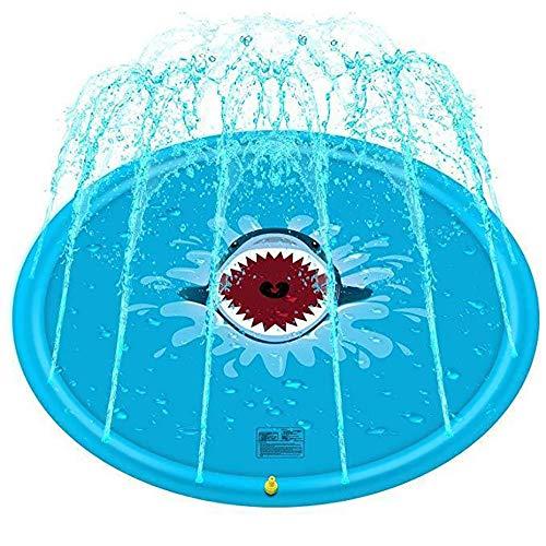 Lzcaure Alfombra de juego para niños, a prueba de salpicaduras, juego de agua al aire libre, aspersor, aspersor de verano, aspersor para niños/bebés/mascotas (color: azul, tamaño: 170 x 170 cm)