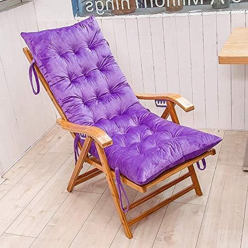 FMIKA Silla de salón Chaise Lounge Cojín Sillas De Jardín Mecedora Cojín para Sillas Respaldo Alto Sillon Cojín para Asiento Banco Cojín para Sillas-155x48cm púrpura