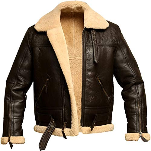 Men RAF Aviator Bomber Real Shearling Sheepskin Leather Jacket, Brown, Large