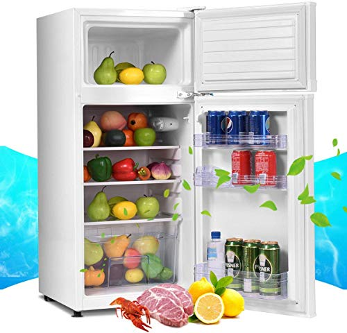 ReunionG, White 2-Door Compact Refrigerator, Counter Fridge with Large 3.4 cu. ft. Capacity, Freezer Unit with Removable Glass Shelves and Adjustable Legs for Kitchen, Dorm, Apartment and Office