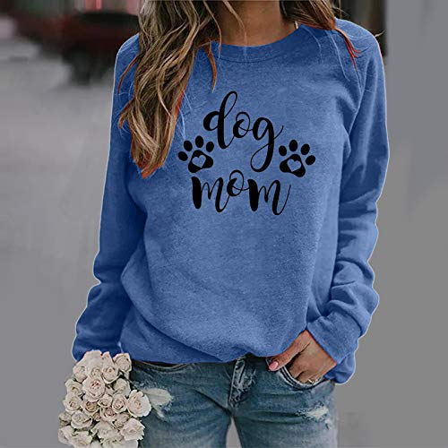 Pistaz Amour Heart Dog Paw Print Sweatshirt Women's Long Sleeve Jumper Tops Casual Round Neck Shirt Blouse Pullover Casual Tops