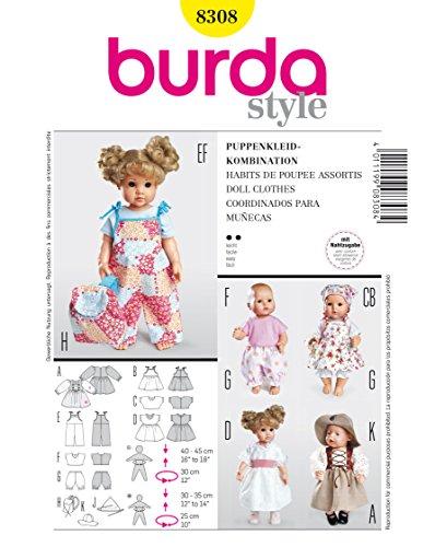 Burda 8308 Schnittmuster Puppenkleider Kleid Hose (Puppen, Gr, M - L) Level 2 leicht