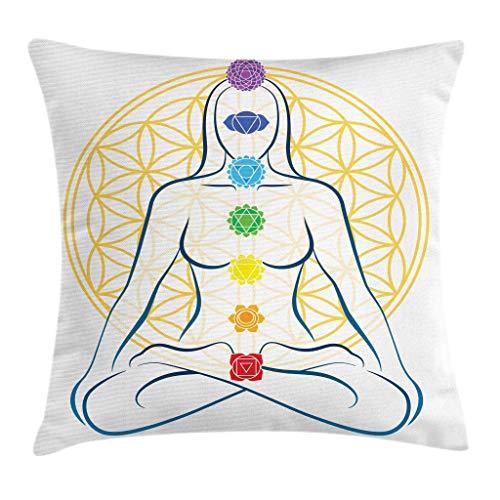 Funda de Almohada geométrica, Funda de cojín para Almohada, meditación en la Postura del Loto con Puntos en el Cuerpo, Yoga, Tema de la Paz