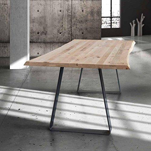 Table avec Plateau en Bois Massif de 4 cm d'épaisseur et Pied en Metal; Dimensions cm. 250x90 Fixe.