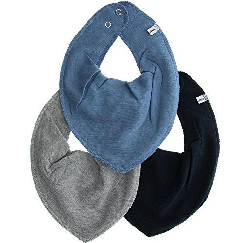 Pippi Unisex Baby 3er Pack Lätzchen Dreieckstücher Halstuch, Blau (Dark blue 785), (Herstellergröße:One Size)