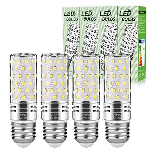 Gezee LED Silver Corn Glühbirnen E27 15W Kandelaberbirnen 120W Äquivalent, 1500Lm, kaltweiße 6000K LED Glühbirnen Dekorativer Kronleuchter, nicht dimmbar, 4er-Set