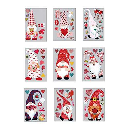 ZHENGX 9pcs Valentine's Day Heart Wall Sticker Christmas Gnome Tomte Window Decals DIY