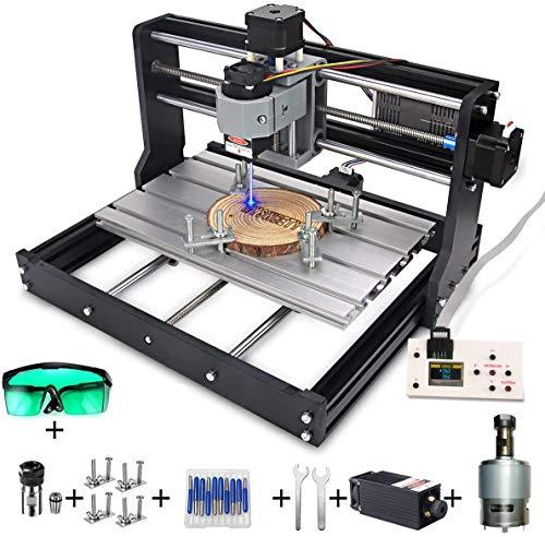 CNC Machine, MYSWEETY DIY CNC 3018-PRO 3 Axis CNC Router Kit with 5500mW 5.5W Module + PCB Milling, Wood Carving Engraving Machine with Offline Control Board + ER11 and 5mm Extension Rod