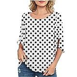 2021 Nuevo Camiseta Mujer Verano Moda Impresión de Lunares Manga Corta Elegante Blusa Camisa Cuello Redondo Camiseta de Gasa Suelto Tops Casual Fiesta T-Shirt Original tee