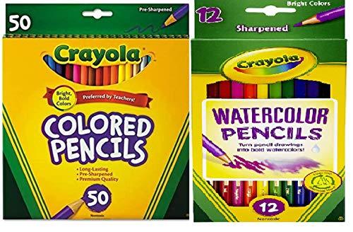 Crayola Colored Pencils, 50 Count, with Crayola Watercolor Colored Pencils Assorted Colors 12 Count