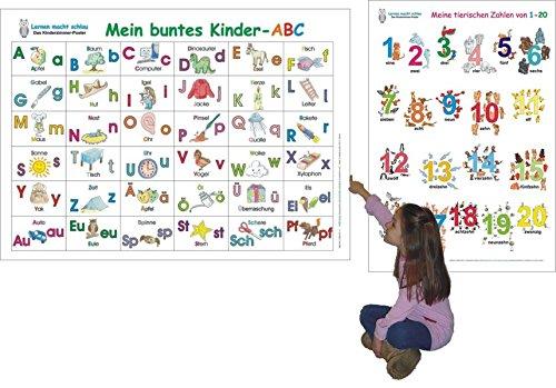 Mein buntes Kinder-ABC + Meine tierischen Zahlen von 1-20: 2 Lernposter 70 x 100 cm, gerollt, abwaschbar + UV-Lack beschichtet