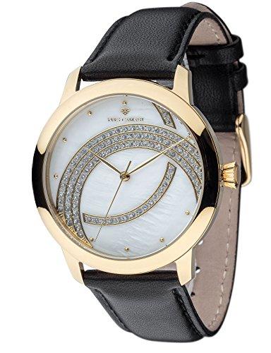 Yves Camani Arcenciel Yves Camani ARCENCIEL Elegante Damenuhr mit Zirkonia-Steinen besetztem Perlmuttzifferblatt und echtem Lederarmband. (Gold)