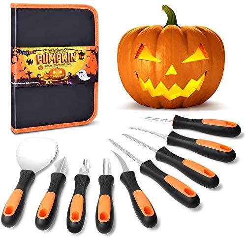 GoStock Pumpkin Carving Kit, Upgrade Soft Grip Rubber Handle 9 Pieces Halloween Pumpkin...