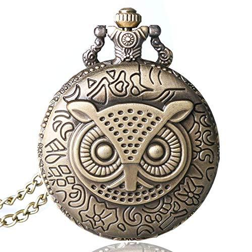 DZNOY Reloj de bolsillo, bronce cobre retro con patrón de búho, reloj de cuarzo con cadena para hombre y mujer (color bronce)