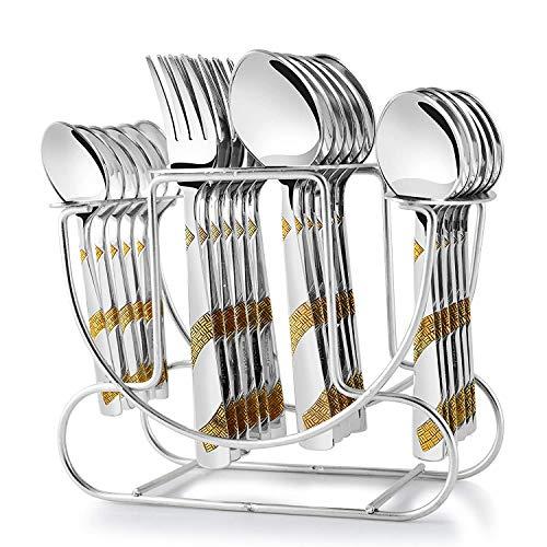 Evercrafting Set di Posate Aster da tavola in Acciaio Inossidabile Premium per Tavolo da Pranzo con...