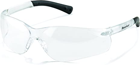 Crews BK310 BearKat 3 Polycarbonate Clear Lens Safety Glasses with Non-Slip Hybrid Black Temple Sleeve, 1 Pair