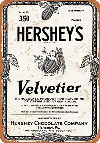 1928 Hershey's Velvetier Chocolate Sirup Metallschild 20,3 x 30,5 cm