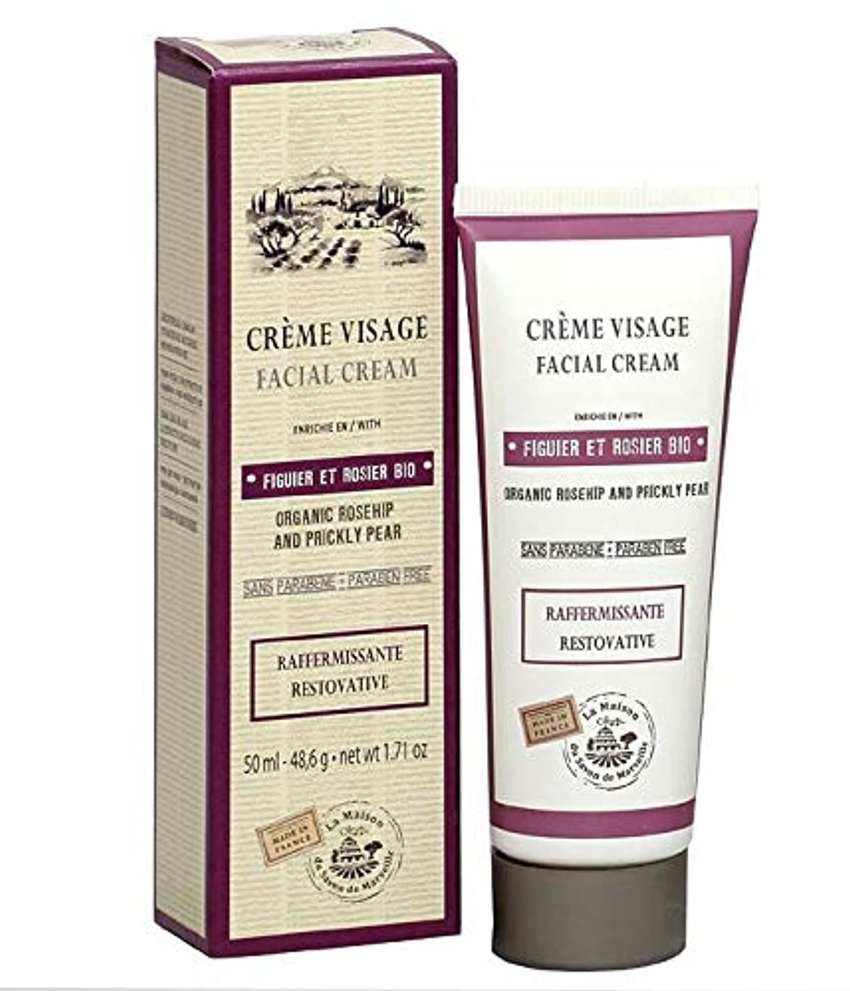 繰り返す囲まれた家主Savon de Marseille Facial Cream Organic Prickly Pear and Rose 50ml