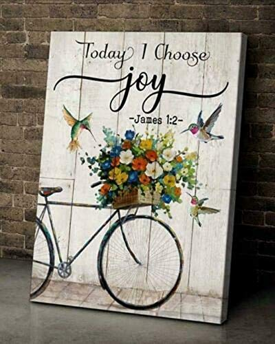 Hippie Hummingbirdd Canvas - Today I Choose Joy - Vintage Canvas Wall Art Canvas 0.75 Inch, Home Decor (Size 8x12, 12x18, 16x24, 24x36 Inches)