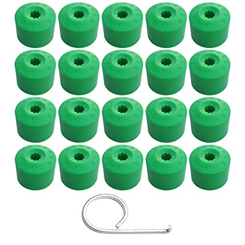 Gebildet 20 Piezas 17mm Tapa de Perno de Tuerca de Rueda, Tapa de Tornillo de Neumático de Perno de Rueda con una Herramienta de Extracción (Verde)