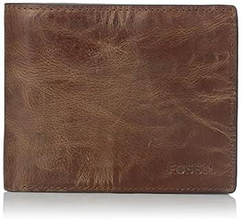 Fossil Men s Derrick Leather RFID-Blocking Bifold with Flip ID Wallet Brown