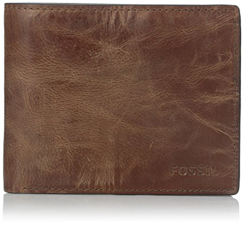 Fossil Men's Derrick Leather RFID blocking Bifold Wallet, Brown