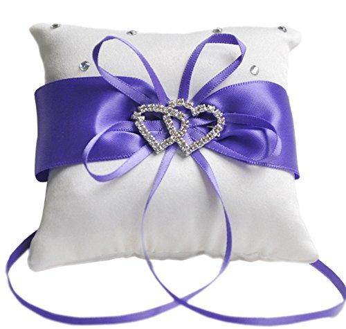 Outflower Double-Heart Strass Hochzeit Ring Kissen der 10 x 10 cm (lila) violett