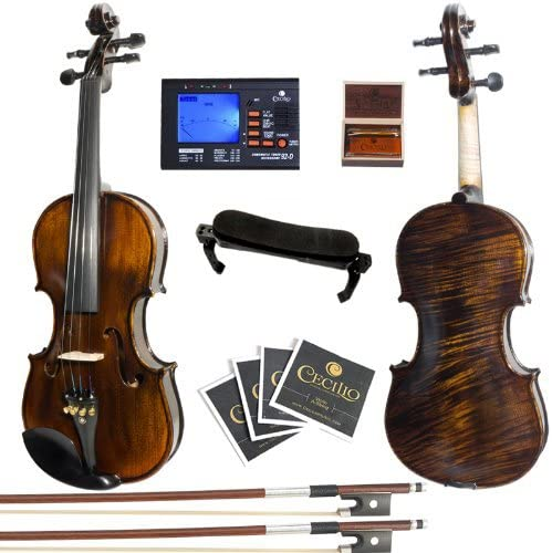 Mendini By Cecilio Violin - MV500+92D - Size 1/2, Black Solid Wood - Flamed, 1-Piece Violins w/Case, Tuner, Shoulder ...