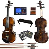 Product Image of the Mendini MV500+92D Flamed 1-Piece Back Solid Wood Violin with Case, Tuner,...