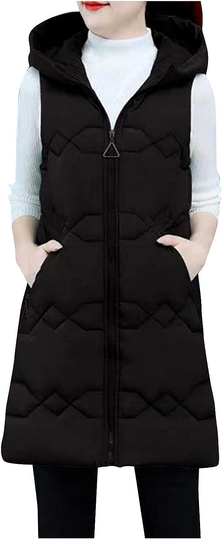 FIRERO Women Sleeveless Down Jacket Pocket Outwear Solid Warm Long Padded Slim Jacket Vest Coat