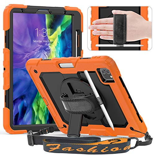 Timecity Case Compatible with iPad 11 2020/2018, with Built-in Screen Protector/ 360 Degree Swivel Stand/Hand/Shoulder Strap/Pencil Holder Case for iPad Pro 11 Inch 1st/ 2nd Generation - Orange