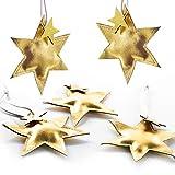 Logbuch-Verlag - Juego de 5 Adornos para árbol de Navidad, diseño de Estrellas Doradas, imitación de Piel