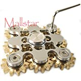 Hand Spinner Fidget Gyro Toy Brass Gears Linkage Design EDC Focus Meditation Break Bad Habits ADHD Spinner Fidget Spin Toy with Bearing (White 9 Gears)