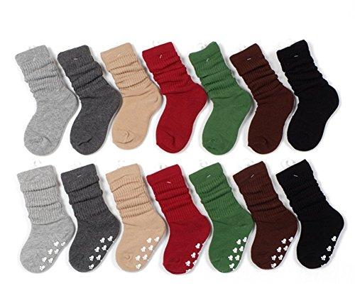 ZUMUii Butterme 7 Paquet d'hiver Chaud Enfants Mode Coton Ruffle Chaussettes Anti-dérapant Particules Chaussettes de Tube Enfants Filles Garçons 4 Taille Disponible Couleur aléatoire