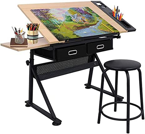 Amazon Com Homgarden Height Adjustable Drafting Desk Drawing Table Art Craft Work Station W Stool Storage Drawers For Drawing Reading Writing Home Kitchen