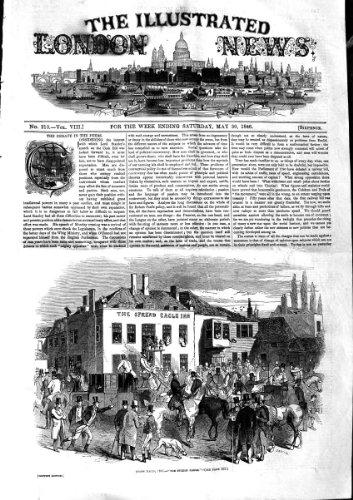 Impresión Antigua del Deporte 1846 del Mesón de Eagle de E