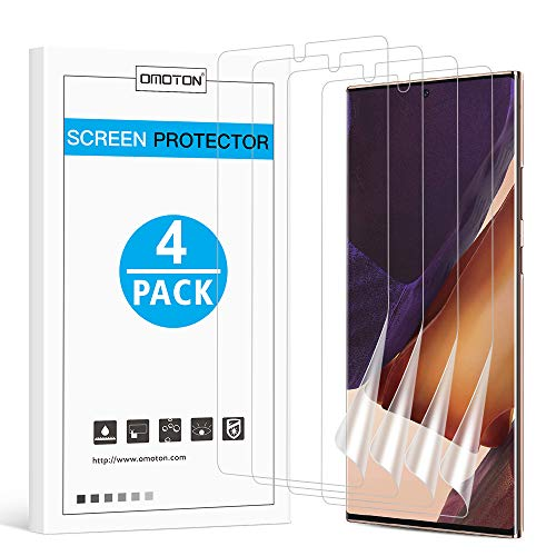 OMOTON [4 pack] Samsung Galaxy Note 20 Ultra Screen Protector - TPU Film Screen Protector for Galaxy Note 20 Ultra 6.9 Inch, 2020 [High Definition] [Bubble Free] [Anti-scratch] [Anti-Fingerprint]