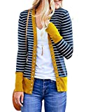 Women's Knit Cardigans Snaps Button Down Long Sleeve Casual Striped Long Cardigan Sweaters