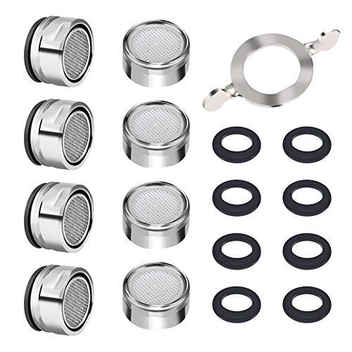 GoldOars 8 pezzi Rompigetto Filtro 24MM, filtro per rubinetto - filettatura esterna, ugello di miscelazione con filtro in acciaio inox con Guarnizione per cucina e bagno