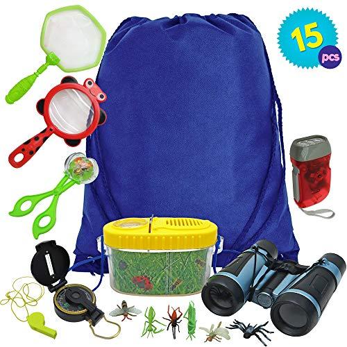 15 Pack Kit de Exploracin para Nios con Binoculares Brjula Lupa Silbato - Educativos Aventuras Observacion - Juegos de Explorador, Juguetes para Muchachos Chicas Cmping Excursionismo