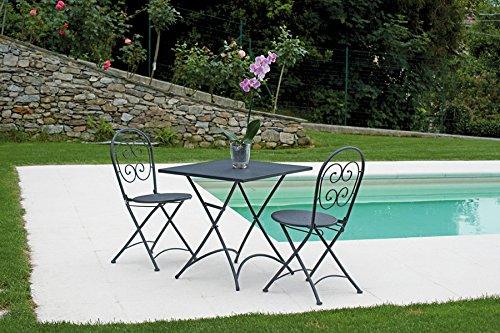 PEGANE Ensemble de Jardin Table Pliante + 2 chaises en Fer forgé Coloris Gris - A Usage Professionnel