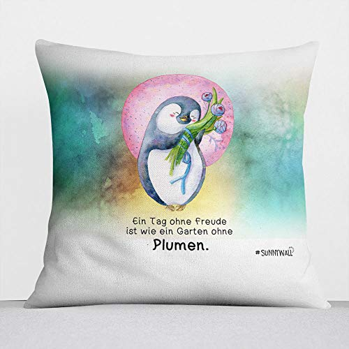 Sunnywall Coussin en Coton et Polyester Motif Pingouin 40 x 40 cm, 47-kissen Tag Ohne Freude Plumen Seegrün, Komplett mit Füllung