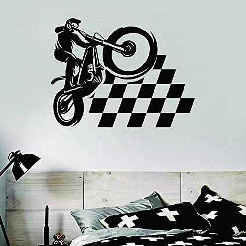 Pegatinas de pared Pegatinas de pared de motocicleta Azulejos de habitación Puertas y ventanas de carreras de motos Arte de vinilo Sala de estar Dormitorio femenino Decoración del hogar
