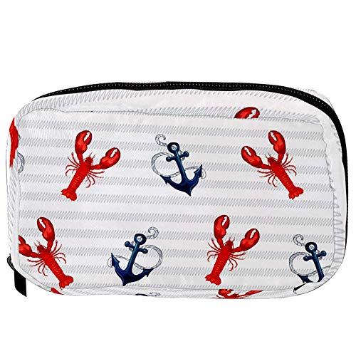 TIZORAX Cosmetic Bags Tropical Marine Lobster Anchor On Stripes Handy Toiletry Travel Bag Organizer Makeup Pouch for Women Girls