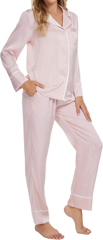 TOP-VIGOR Womens Pajamas Set Silk-Satin Nightwear Floral Print Sleepwear Two PJ Set S-3XL