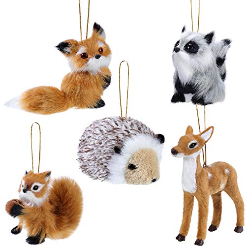WILLBOND 5 Pieces Plush Animal Christmas Ornament Woodland Furry Animal Ornaments Hanging Ornament for Christmas Tree Decoration Supplies