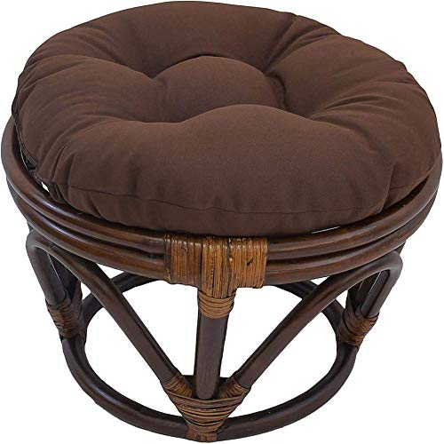 KSWD Ottoman Round Papasan Footstool Cushion Thicken Tufted Rattan Seat Cushion Removable Quilted Sectional Padded Cushion-18Inch Brown